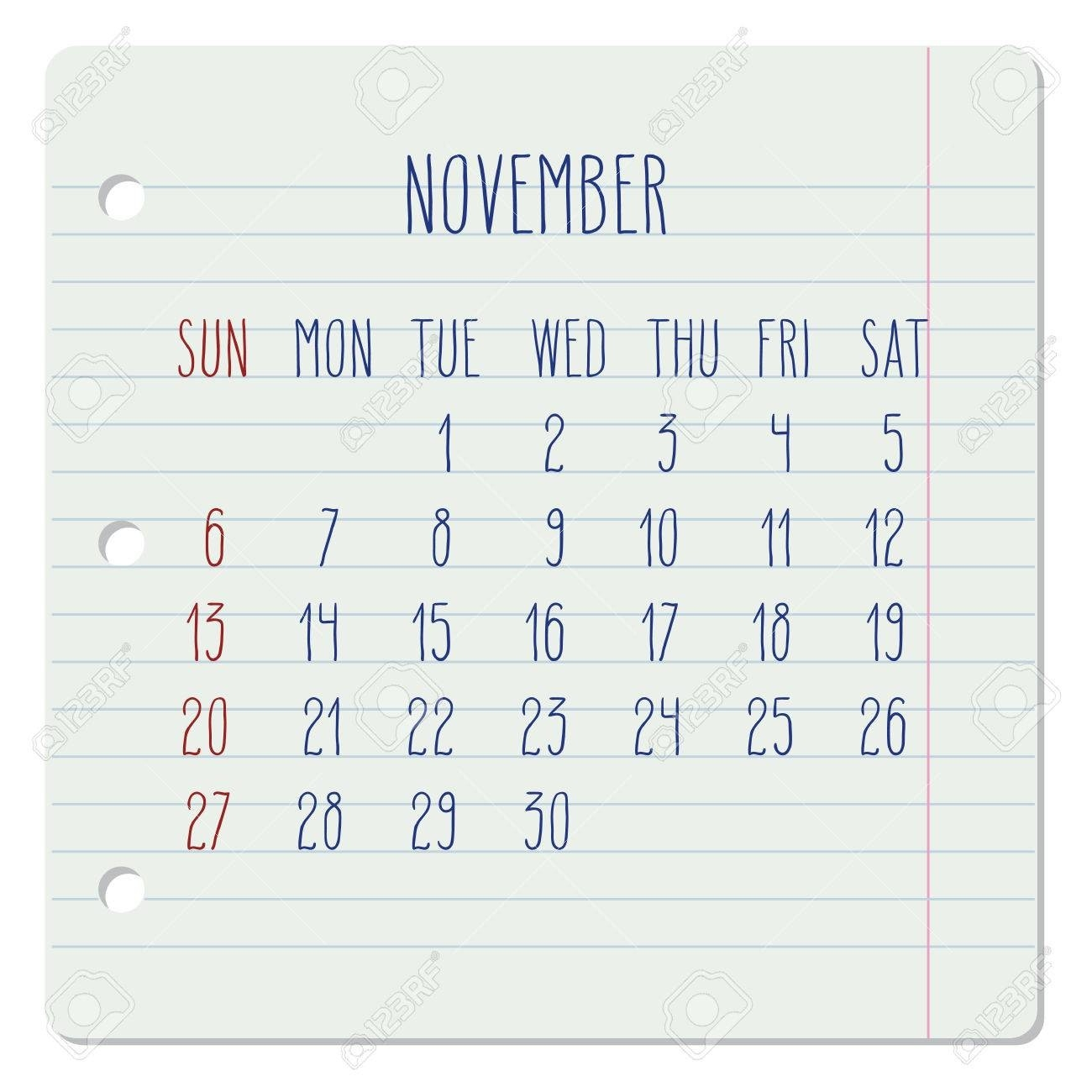 November 2016 Vector Monthly Calendar On A Lined Notebook Page-Notebook With Monthly Calendar