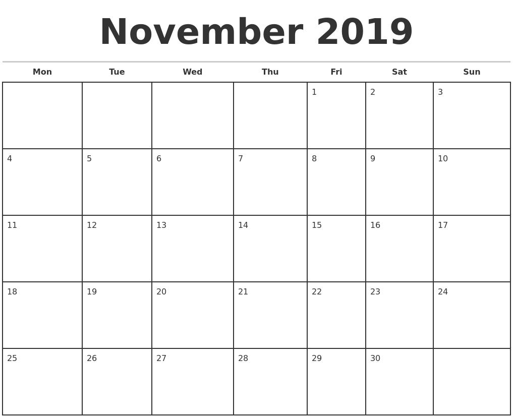 November 2019 Monthly Calendar Template-Calendar Labs Monday Start Monthly Calendar