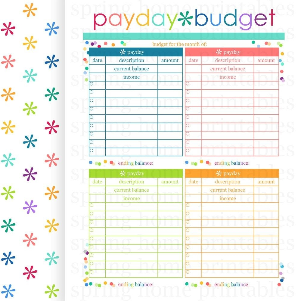 Payday Budget, Budget Planner, Printable Budget, Bill-2020 Bill Budget Calendar Template