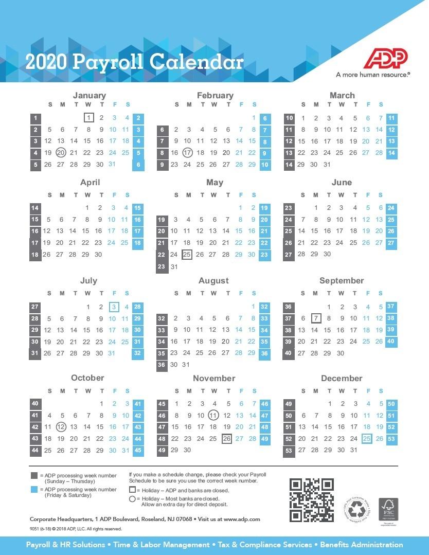 Payroll Calendar 2020 | Weekly, Biweekly, Semi-Monthly-Payroll Calendar Template 2020
