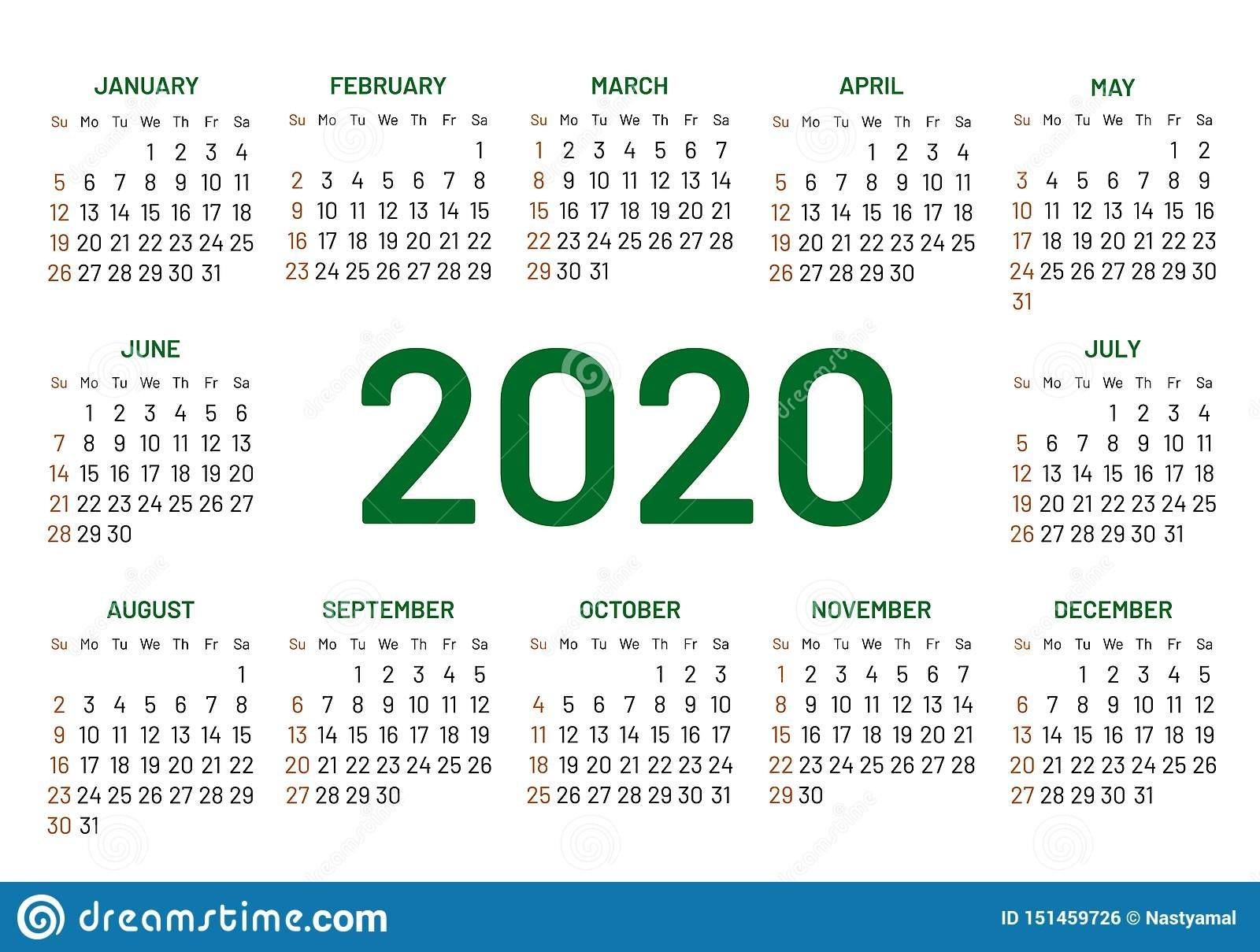 Pocket Calendar 2020 Year Stock Vector. Illustration Of Blue-2 Year Pocket Calendar Template