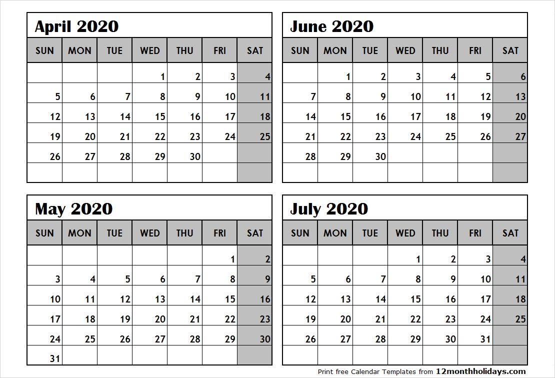 Print April To July 2020 Calendar Template | 4 Month Calendar-4 Month Calendar Template 2020