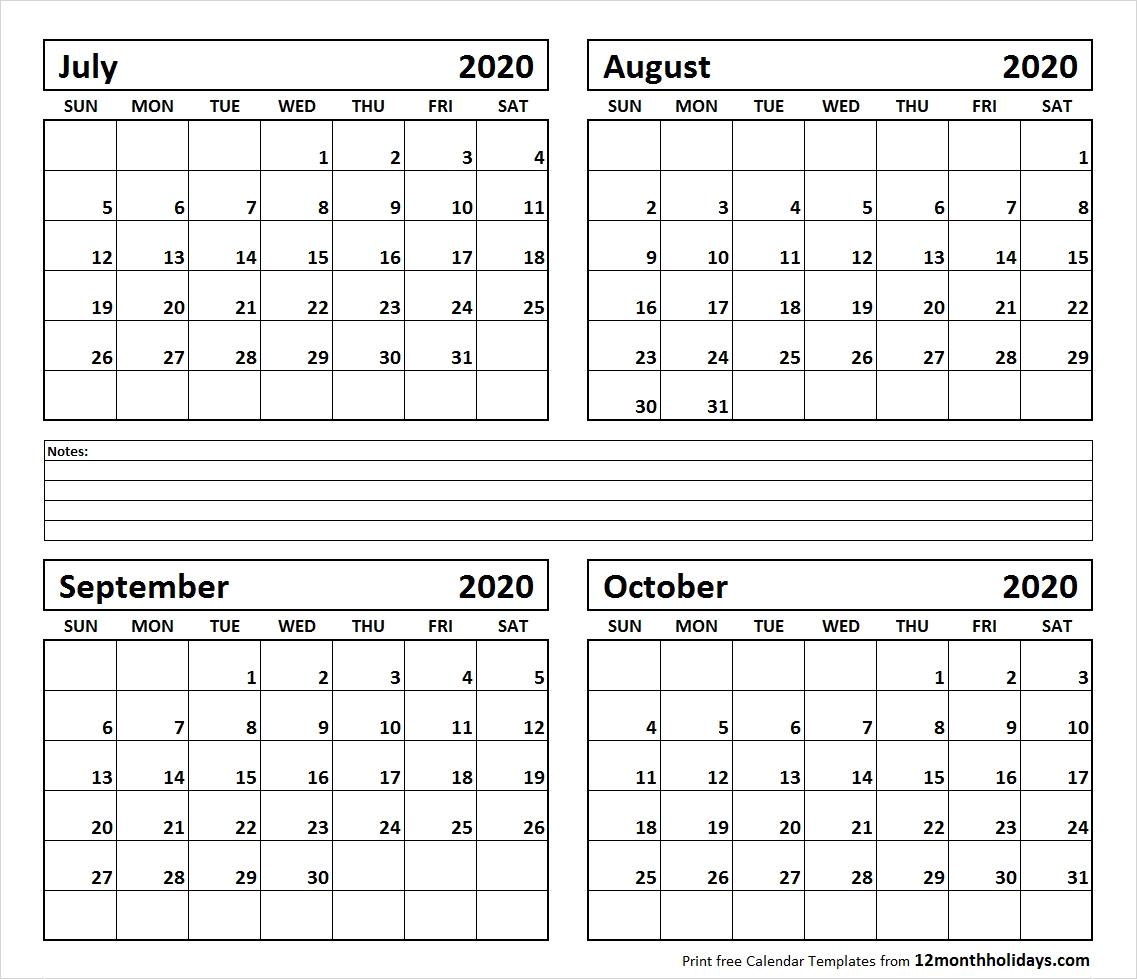 Print Four Month July August September October 2020 Calendar-4 Month Calendar Template 2020