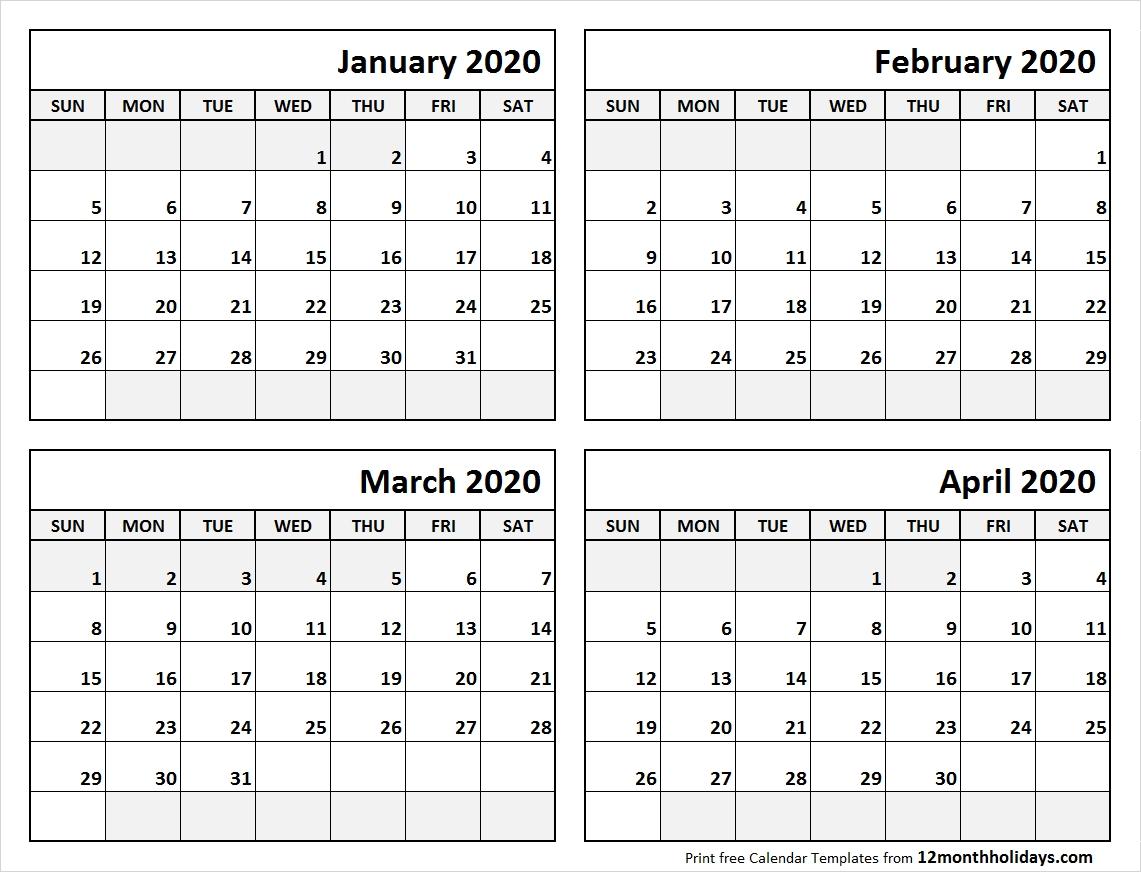 Print January To April 2020 Calendar Template | 4 Month Calendar-4 Month Calendar Template 2020
