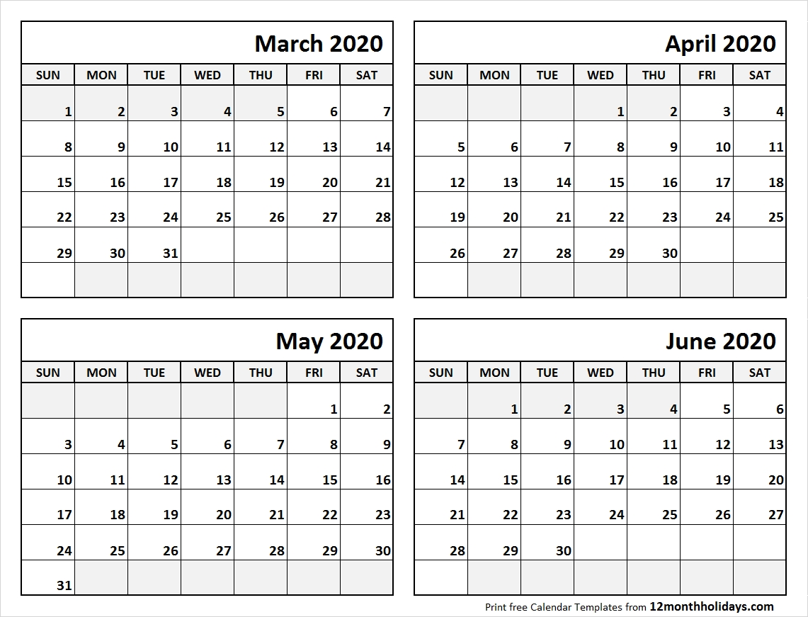 Print March To June 2020 Calendar Template | 4 Month Calendar-4 Month Calendar Template 2020