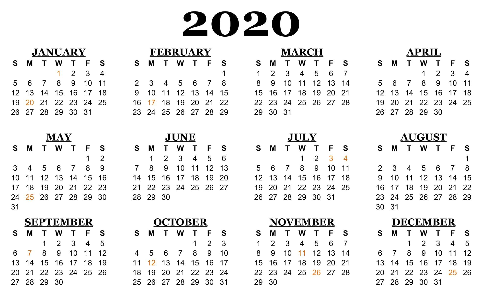Printable 2020 2020 School Calendar - Monte-2020 Calenderwa School Holidays Printable