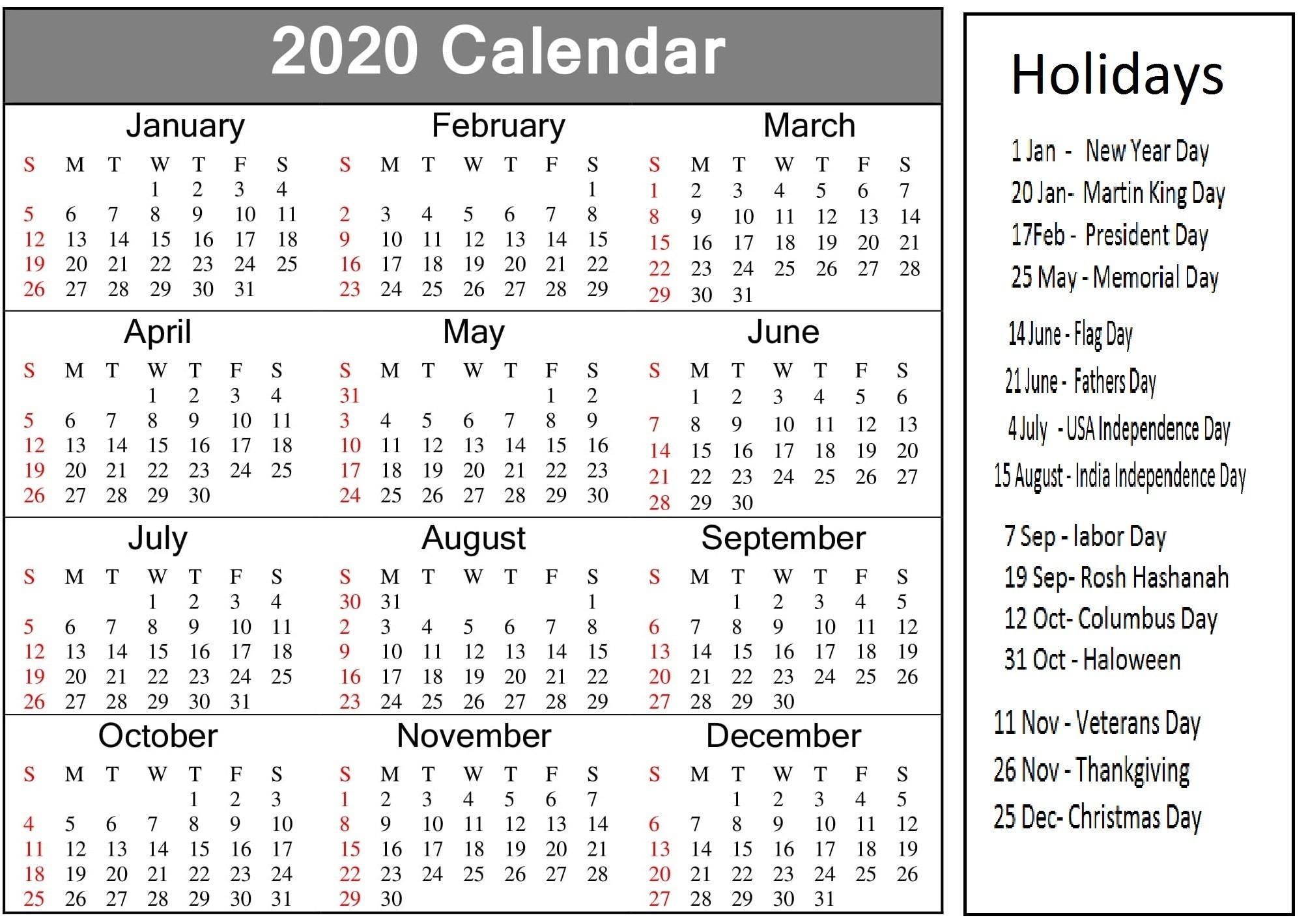 Printable 2020 Calendar With American Holidays - Latest-2020 List Of Holidays Printable
