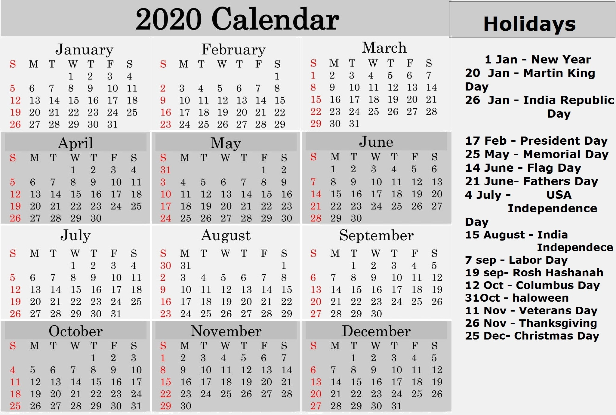 Printable 2020 Calendar With Federal Holidays – Free Latest-2020 List Of Holidays Printable