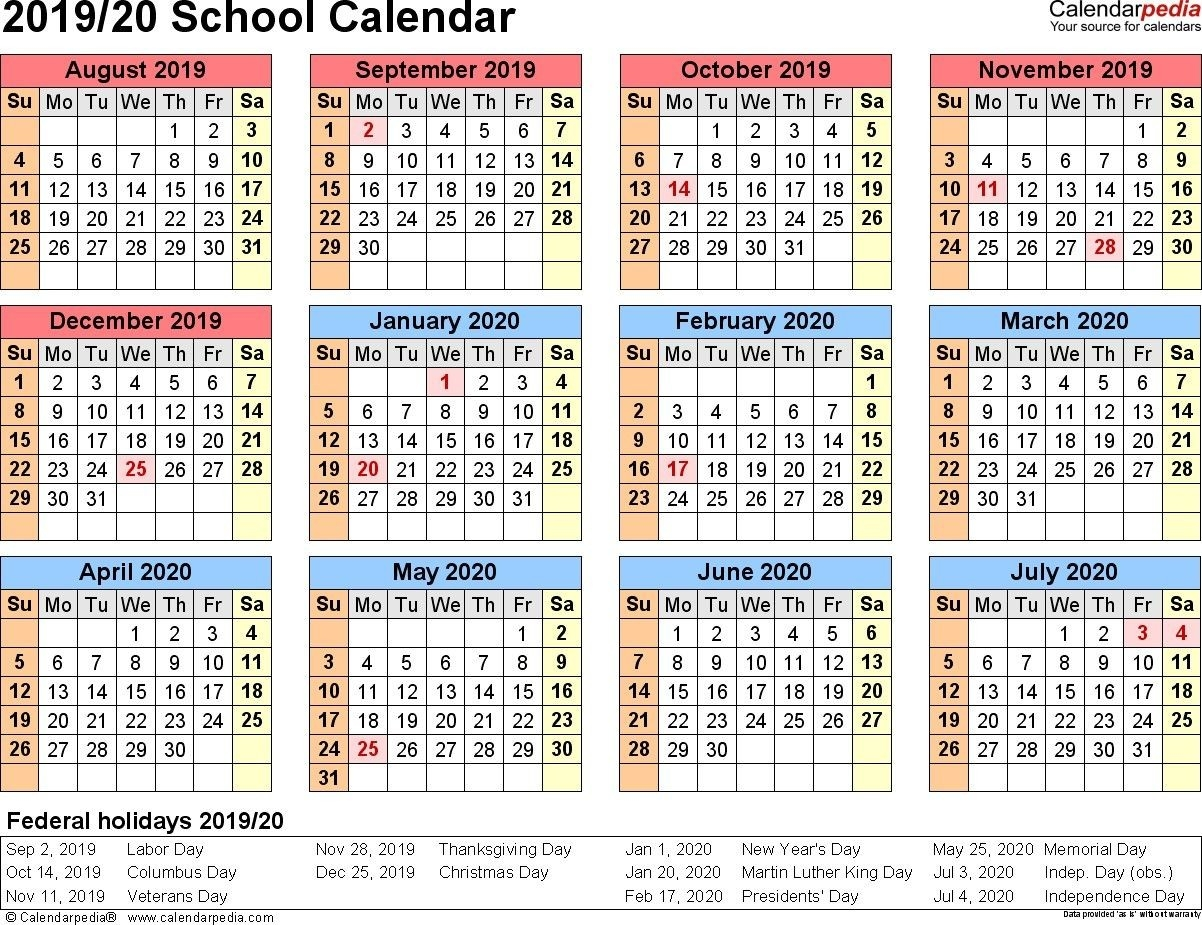 Printable 2020 Calendar With School Holidays-2020 Calenderwa School Holidays Printable