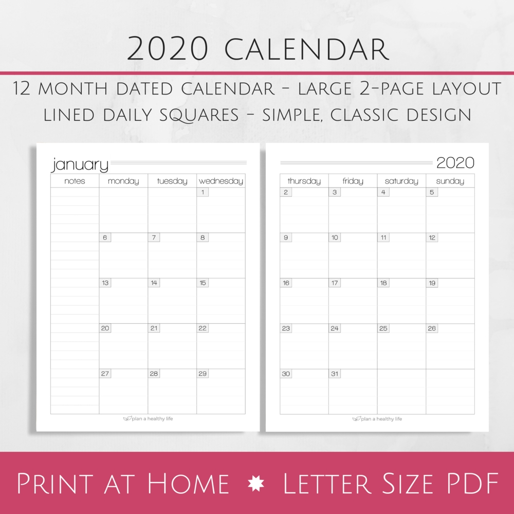 Printable 2020 Monthly Calendar - Large 2-Page Layout — Plan A Healthy Life-2 Page Calendar Printable Template 2020