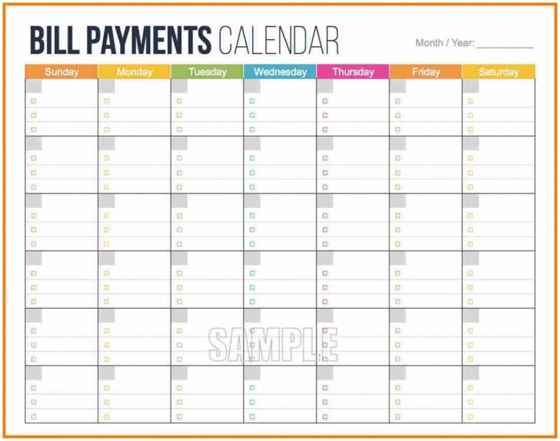 Printable Bill Calendar 2020 Monthly | Calendar Template-Free Monthly Bill Printable 2020