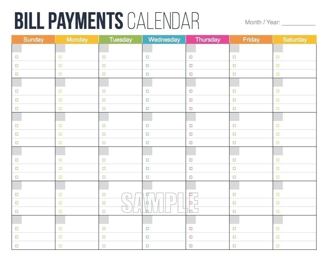 Printable Bill Calendar 2020 Monthly | Calendar Template-Free Printable Monthly Bill Calendar
