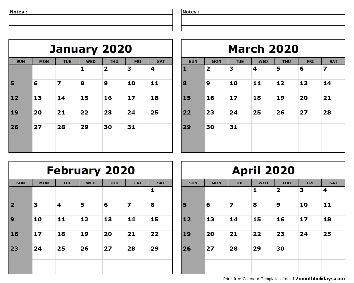 Printable Blank Four Month January February March April 2020-4 Month Calendar Template 2020