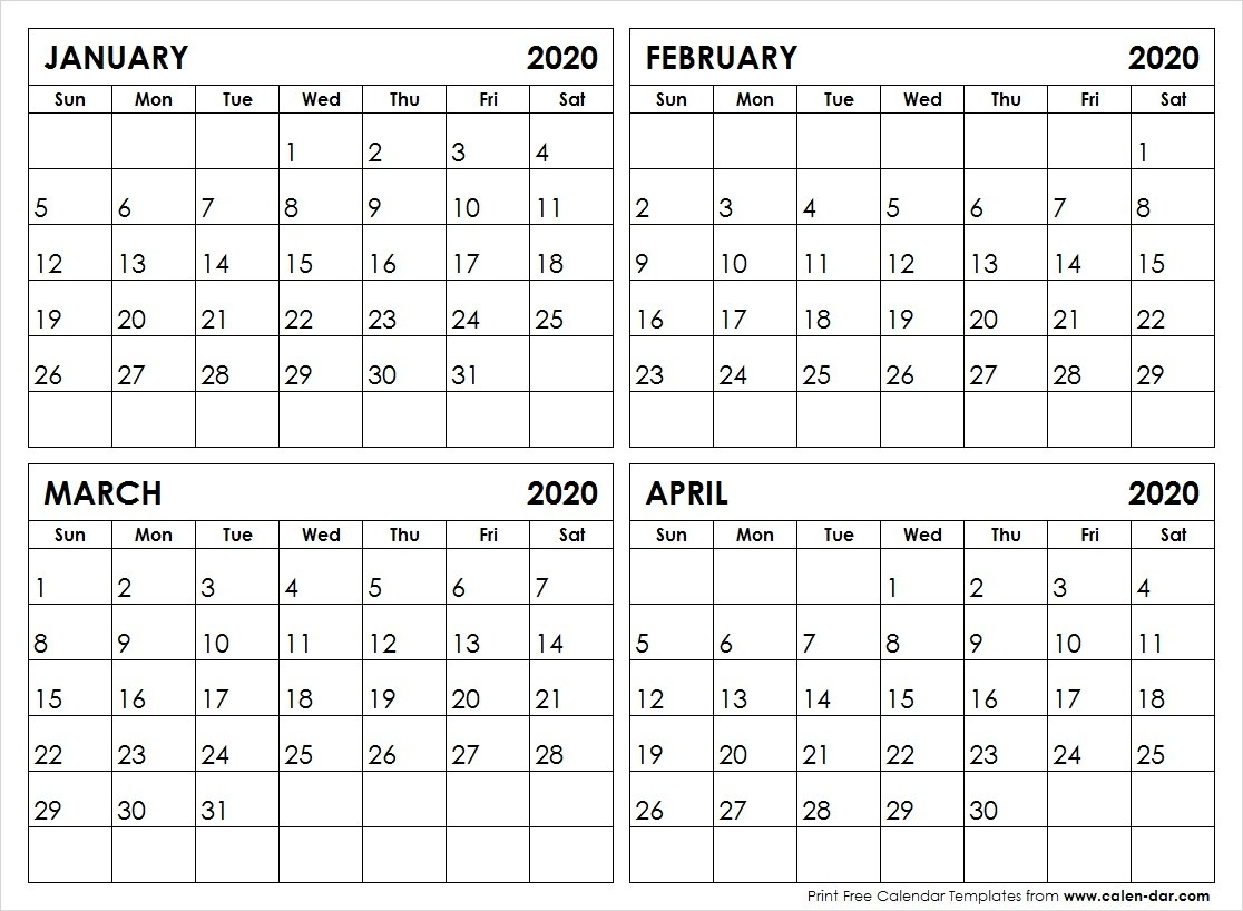 Printable Calendar 2020 Template | January To December 2020-4 Month Calendar Template 2020