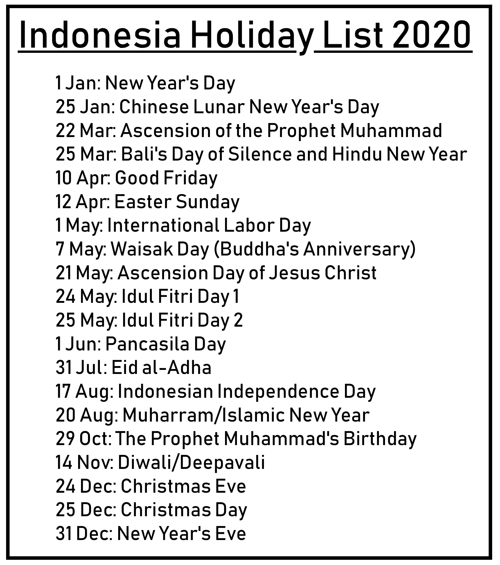 Printable Calendar 2020 With Indonesia Holidays | Printable-2020 List Of Holidays Printable