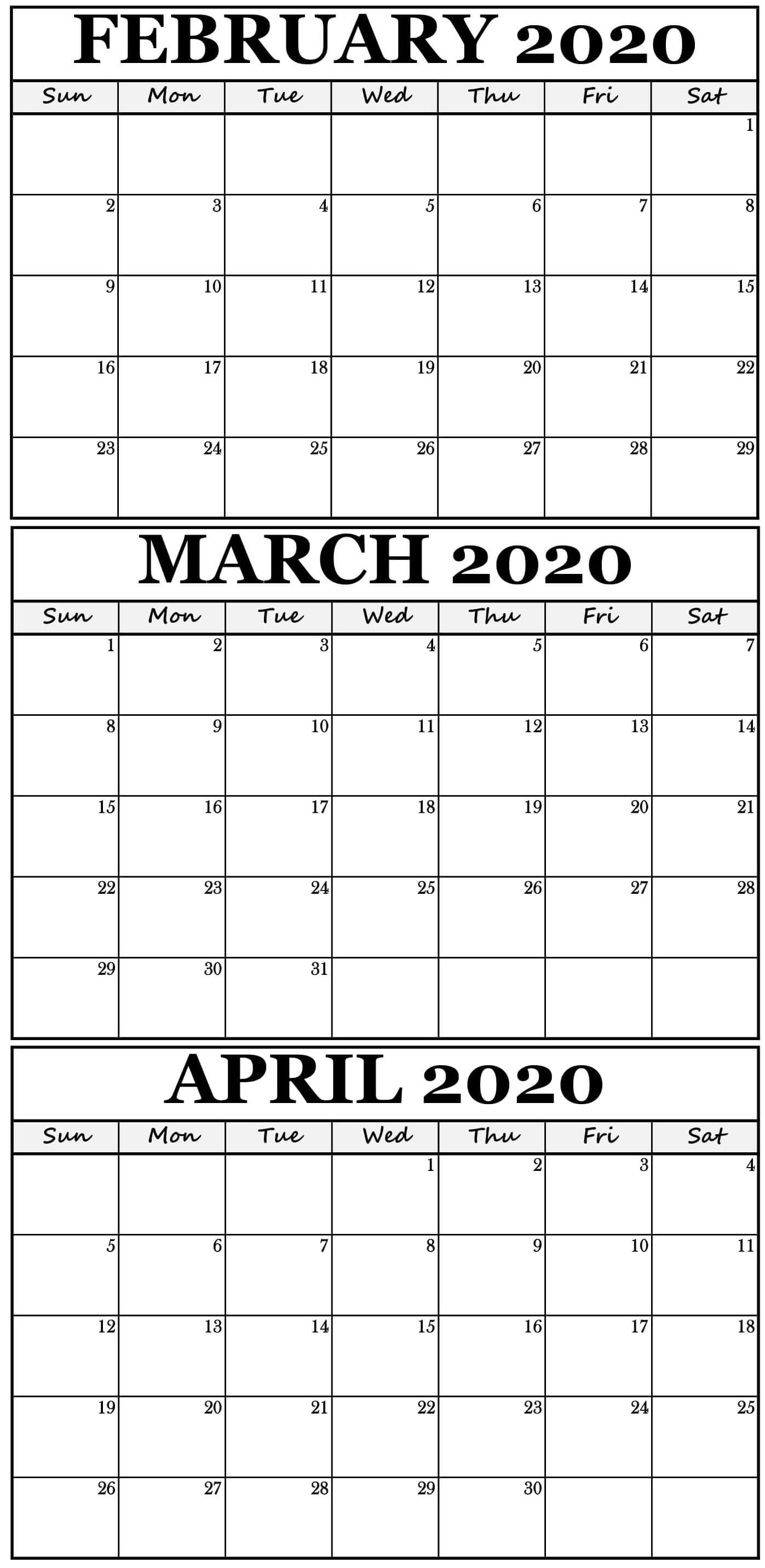 Printable February To April 2020 Calendar With Holidays-3 Month Blank Printable