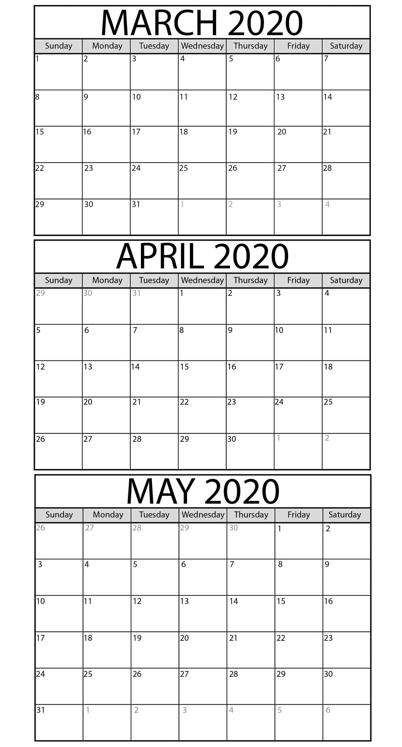 Printable March To May 2020 Calendar Templates - 2019-3 Month Blank Printable