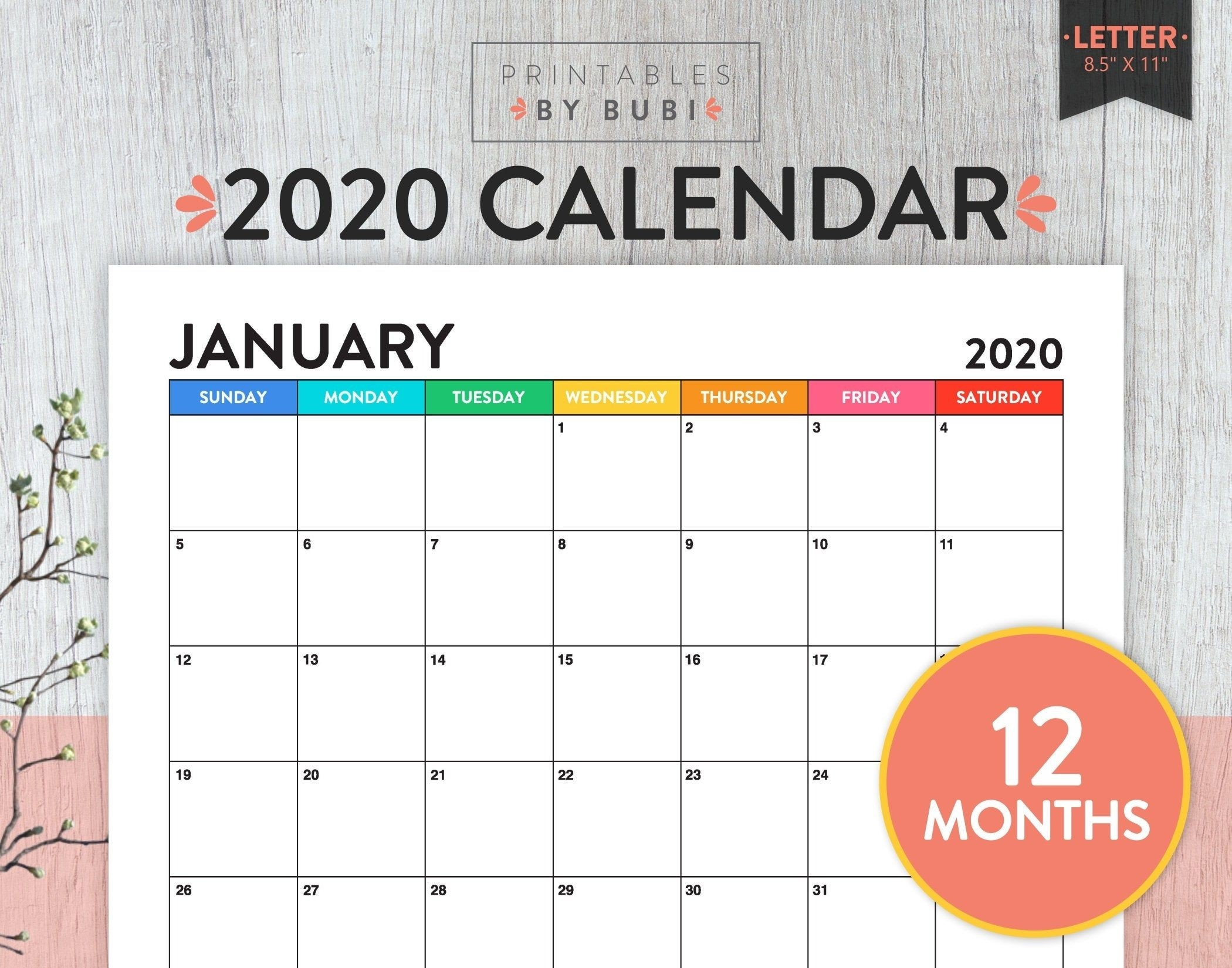 Printable Monthly Calendar 2020, Calendar Printable 2020-Free Monthly Bill Printable 2020