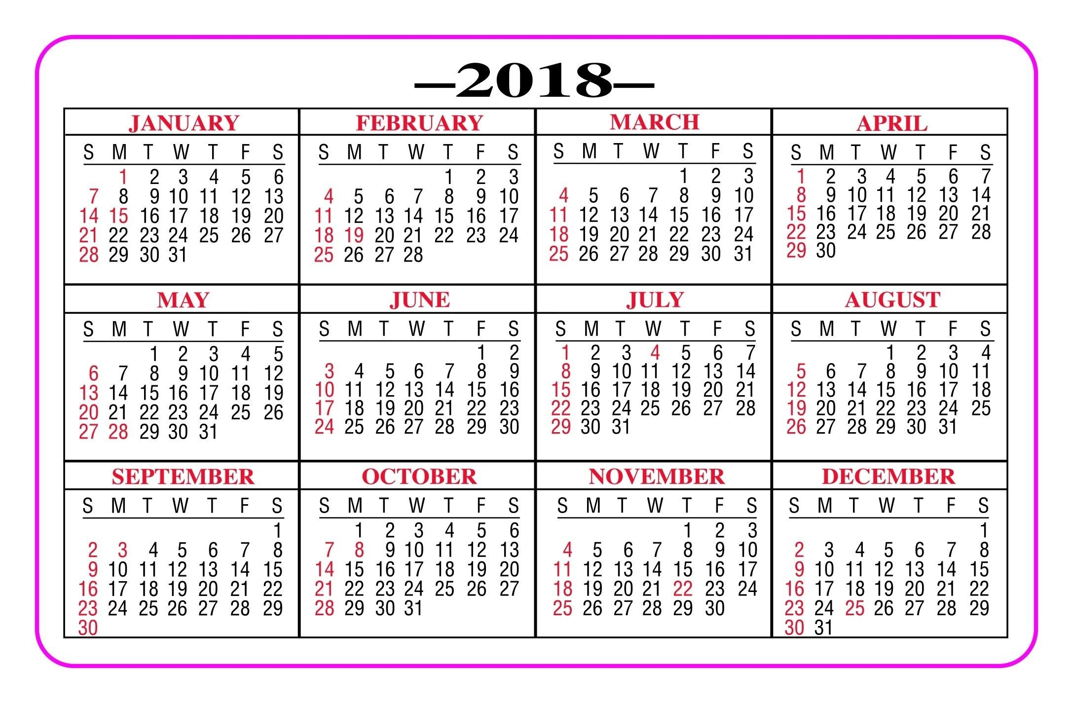 Printable Pocket Calendar 2018 - Yeniscale.co Full Year-2 Year Pocket Calendar Template