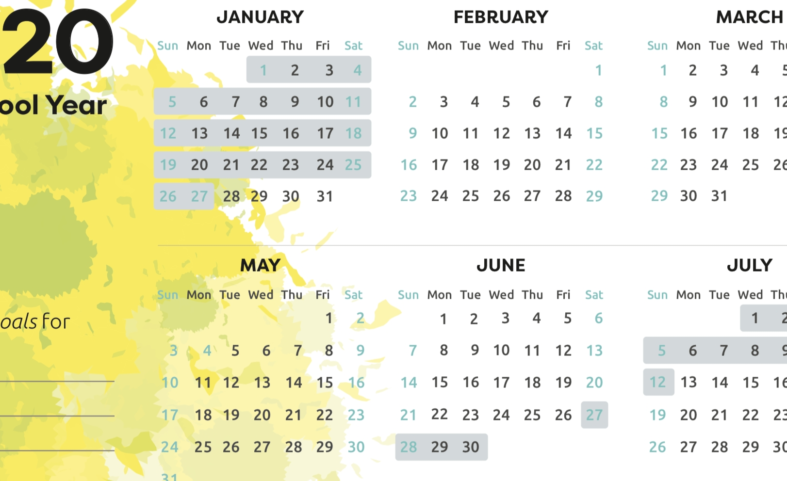 Printable School Holiday Calendar 2020 - School Direct-2020 Calenderwa School Holidays Printable