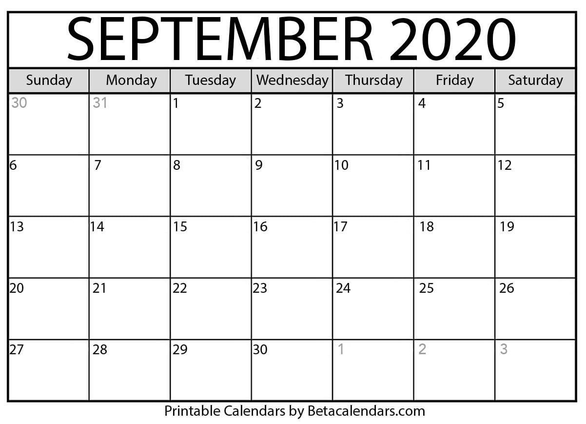 Printable September 2020 Calendar - Beta Calendars-July 2020 Large Claendar Template