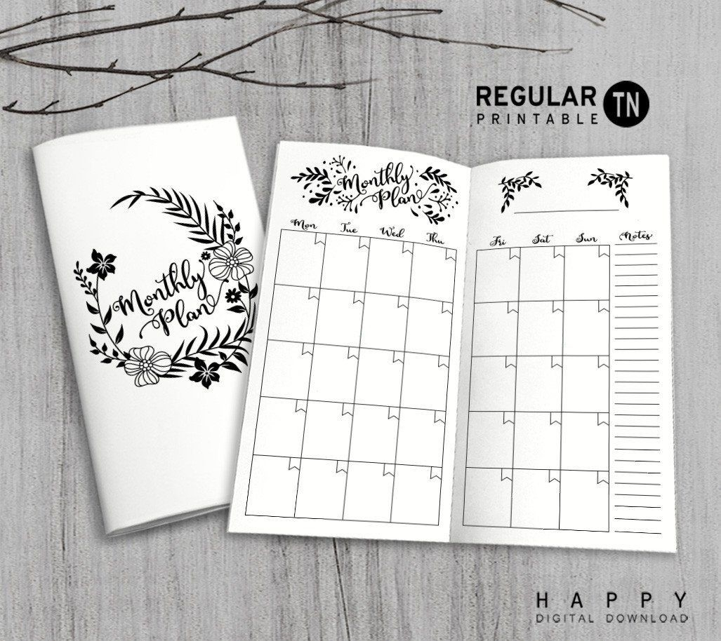 Printable Traveler's Notebook Monthly Insert - Regular Tn-Notebook With Monthly Calendar