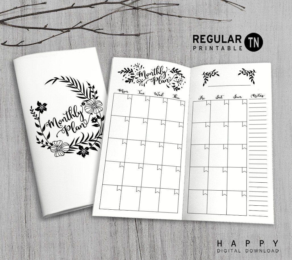Printable Traveler's Notebook Monthly Insert - Regular Tn-Notebook With Monthly Calendar
