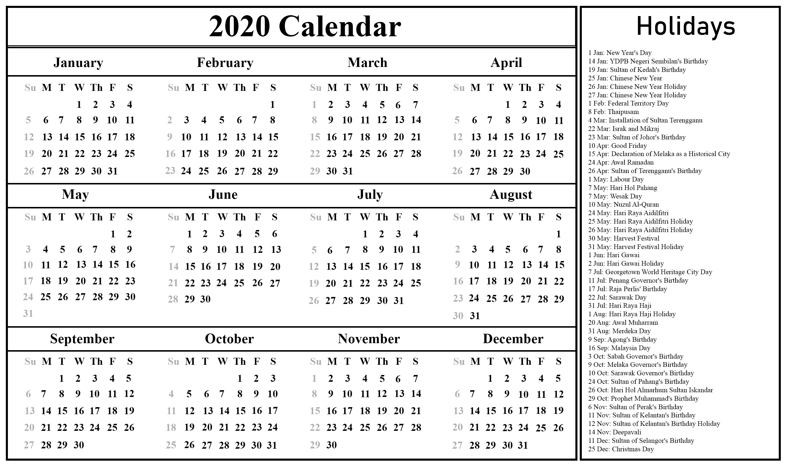 Public Holidays In Malaysia 2020 | Printable July Calendar-Calender With Public Holidays
