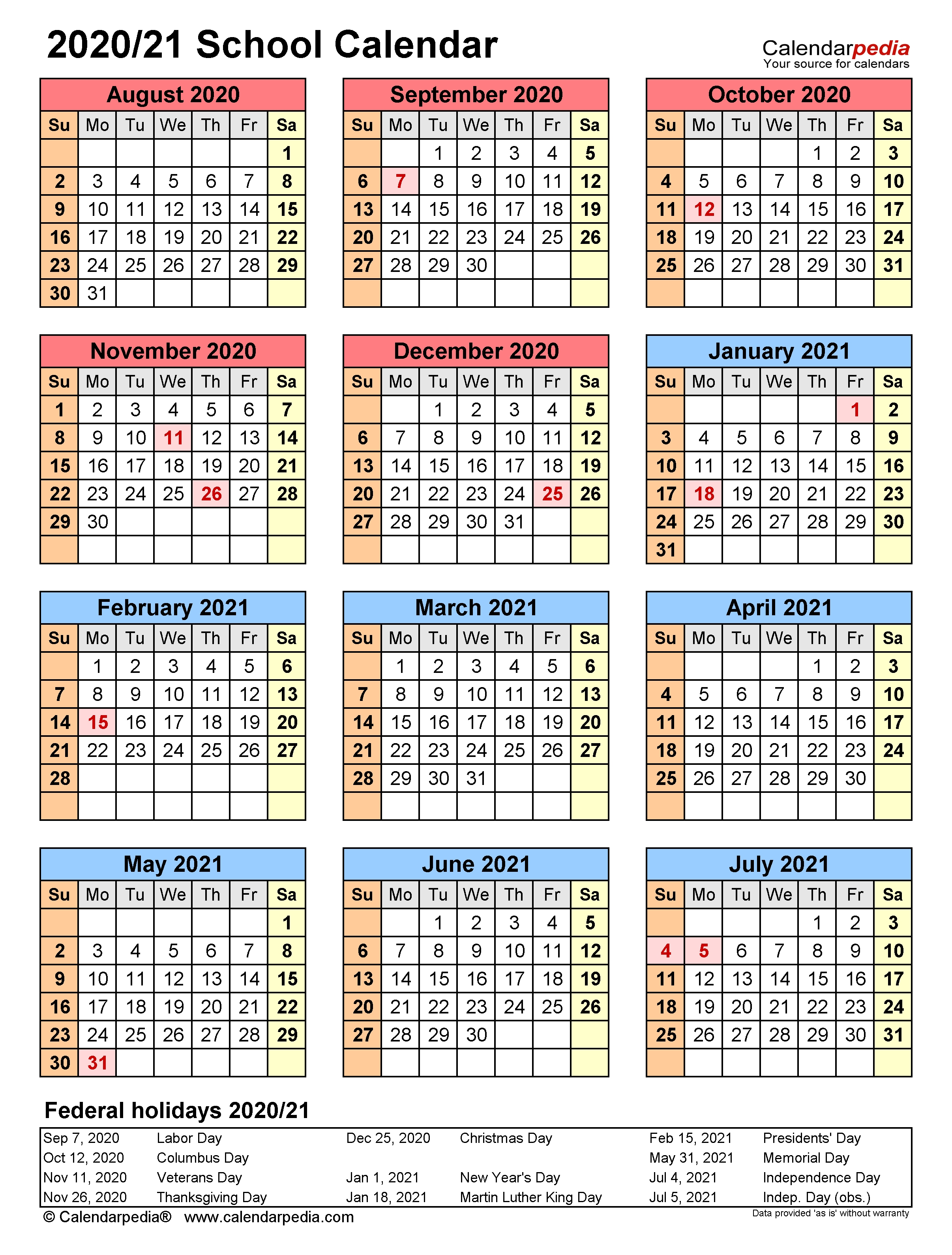 School Calendars 2020/2021 - Free Printable Word Templates-2020 Calenderwa School Holidays Printable