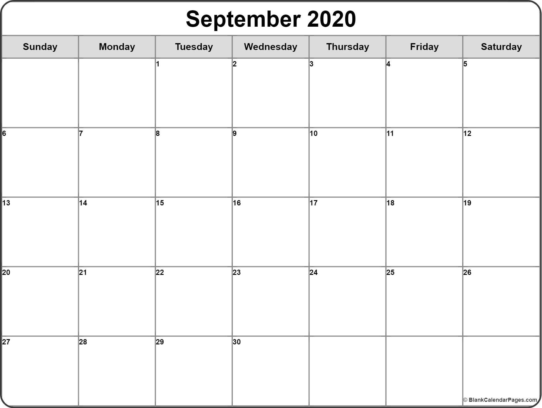 September 2020 Calendar | Free Printable Monthly Calendars-Blank Printable Calendar 2020 Monthly