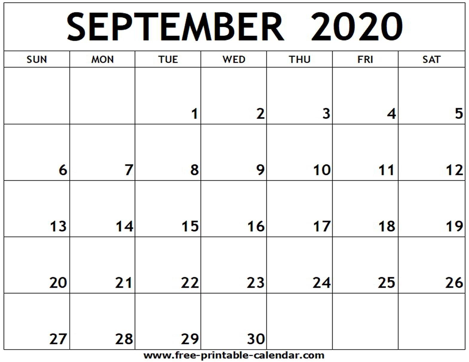 September 2020 Printable Calendar - Free-Printable-Calendar-Blank Calendar 2020 Printable Uk