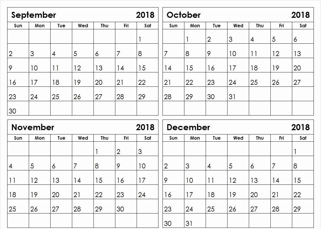 September October November December 2018 Printable Calendar-4 Month Calendar Template 2020