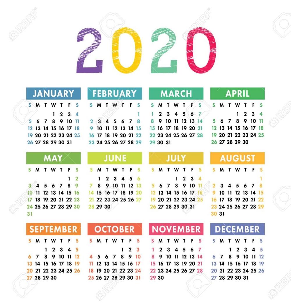Stock Vector | Calender Template, Calendar 2020, Wall Calender-2 Year Pocket Calendar Template