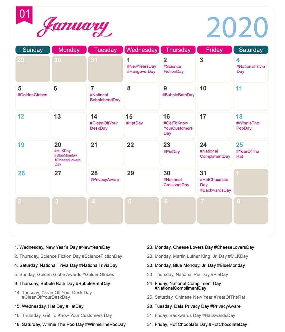 The 2020 Social Media Holiday Calendar - Make A Website Hub-National Food Holidays In Usa 2020