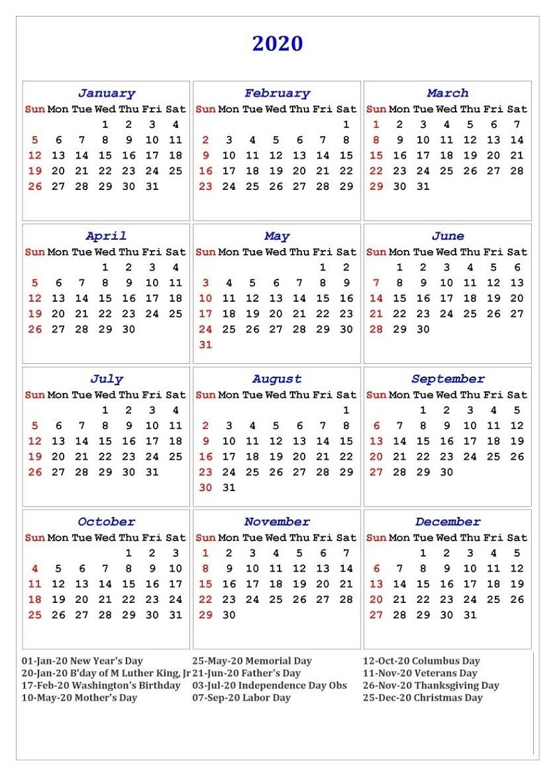 Yearly Calendar 2020 Printable Free For Agenda | Calendar-Blank Calendar 2020 Printable Uk