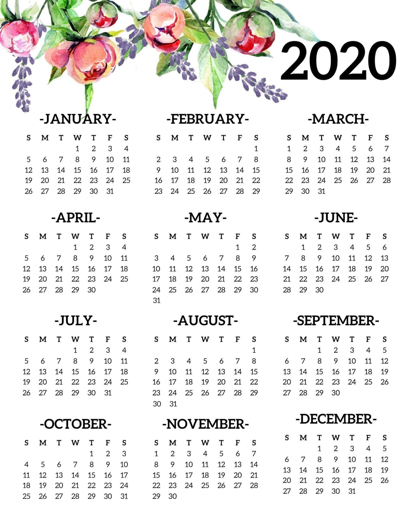 20 Free Printable Calendars - Yearly 2020 Calendar In 2020-School Year Calendar 2020-20 Template