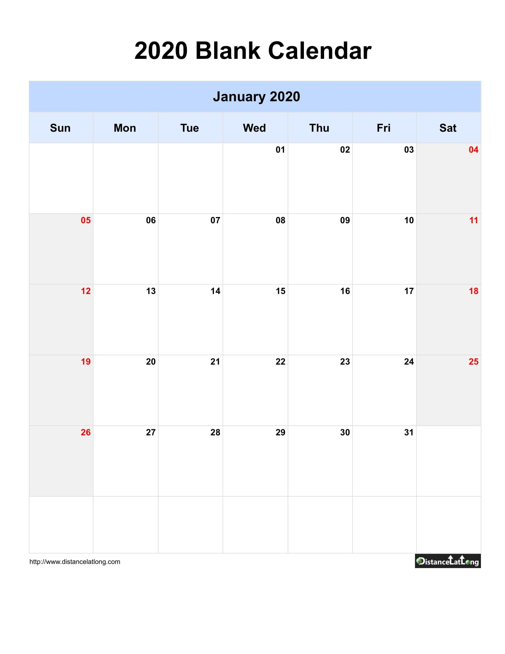 2020 Blank Calendar Blank Portrait Orientation Free-Day To Day Calendar Template 2020