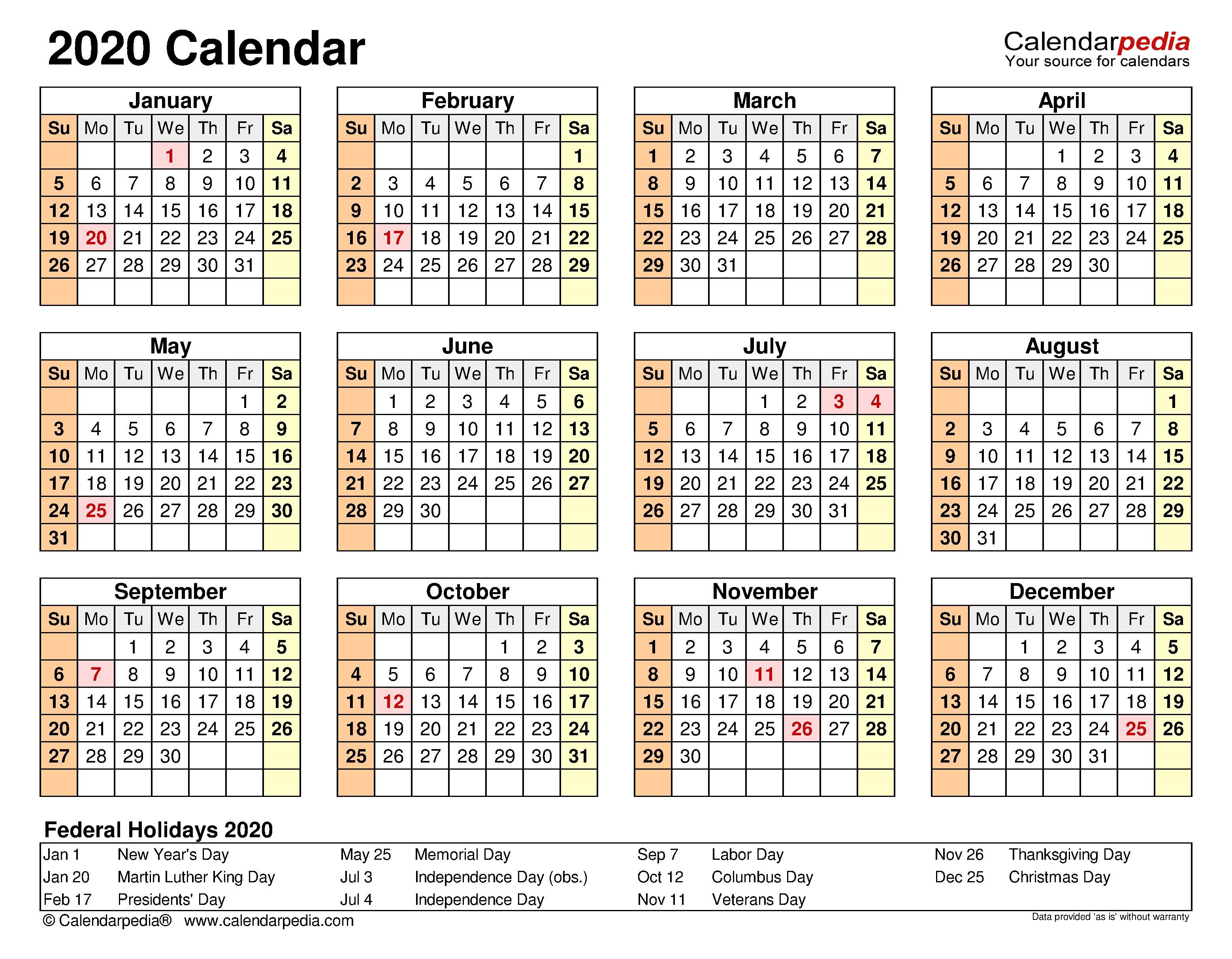 2020 Calendar - Free Printable Microsoft Word Templates-2020 Calendar Template Ms Word