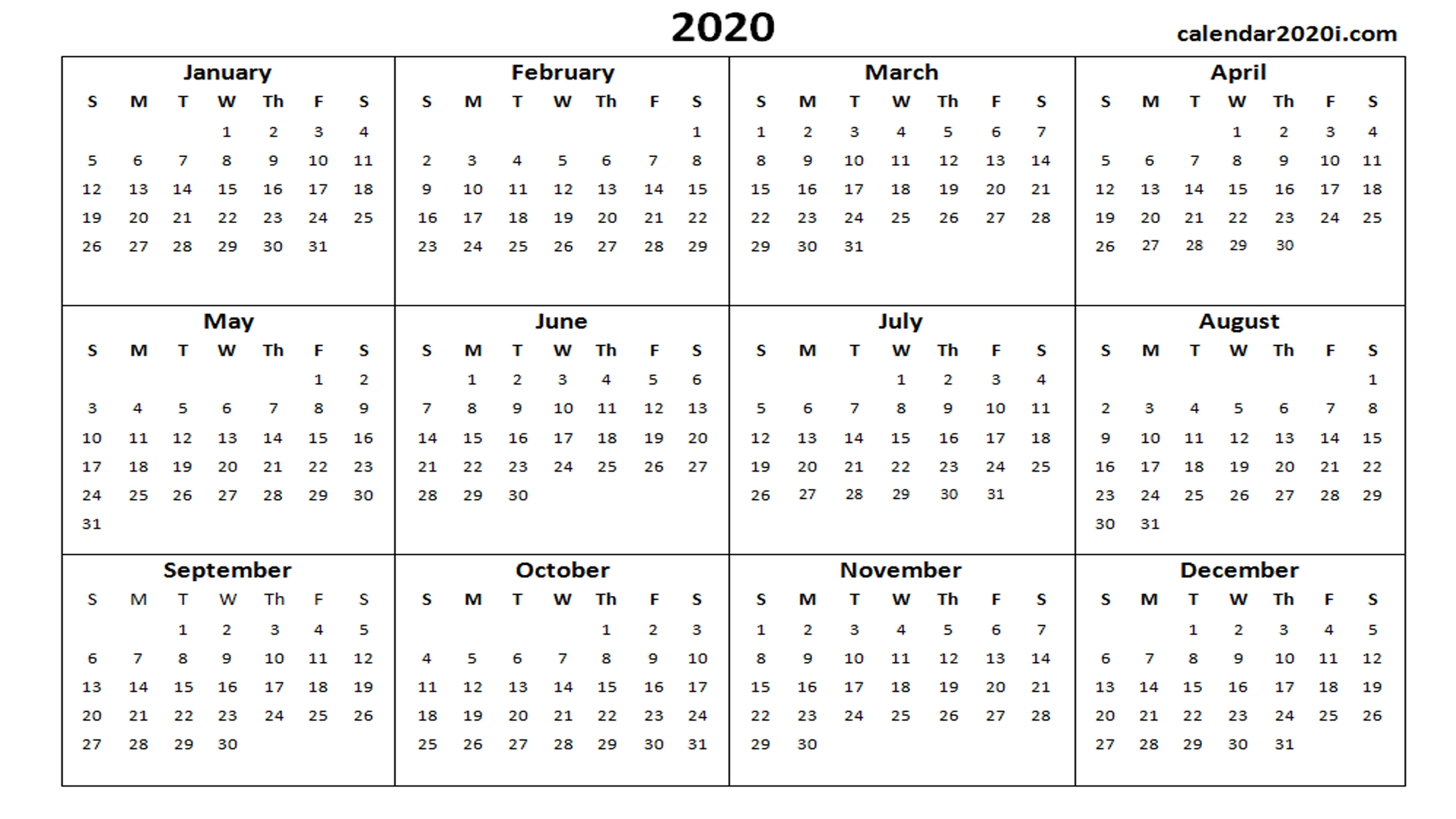 2020 Calendar Printable Template Holidays, Word, Excel, Pdf-2020 Calendar Template Ms Word