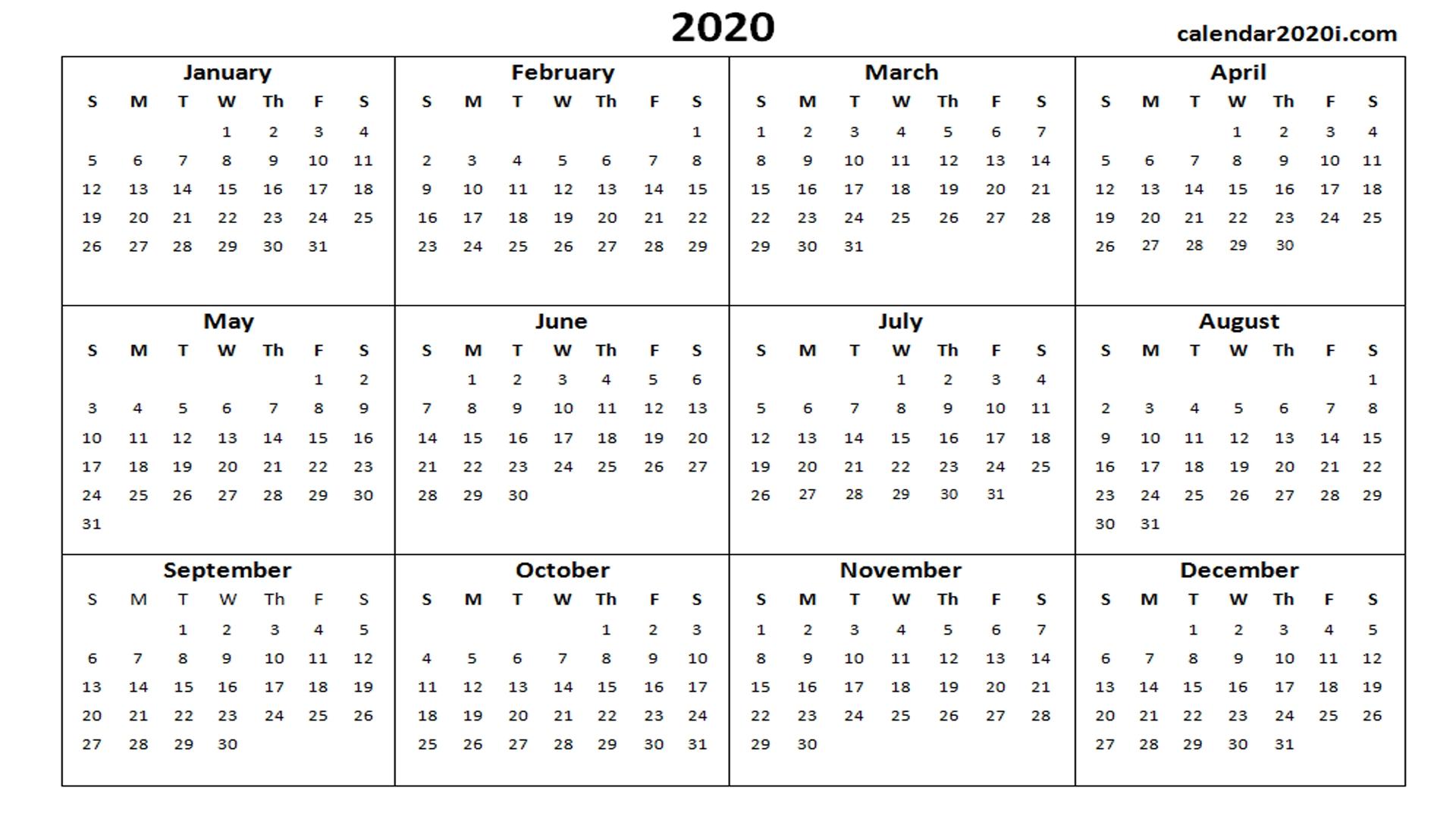 2020 Calendar Printable Template Holidays, Word, Excel, Pdf-2020 Printable Microsoft Word Calendar Template