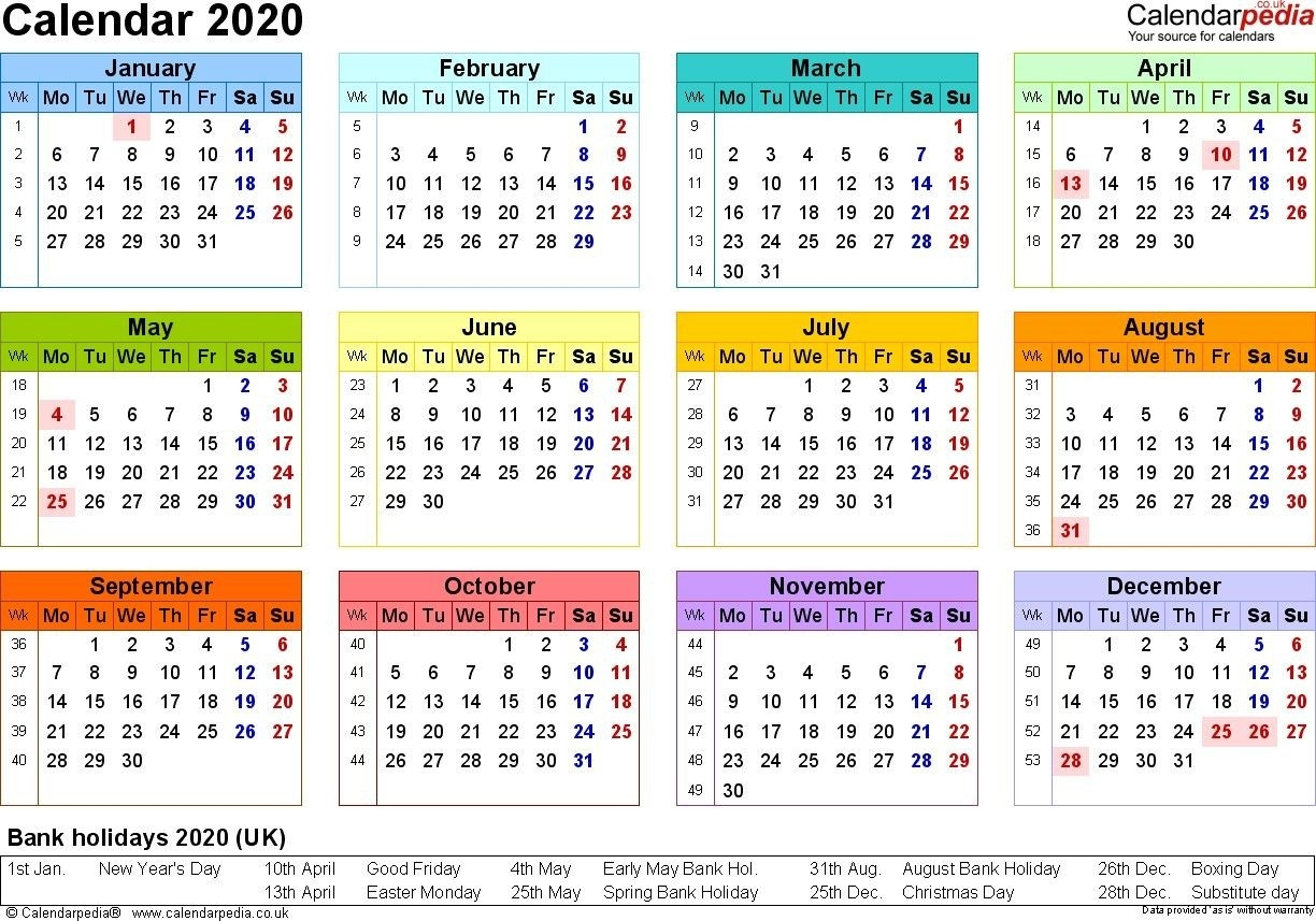 2020 Calendar Printable Uk | Calendar Template, Calendar-Printable Calendar 2020 Including Bank Holidays