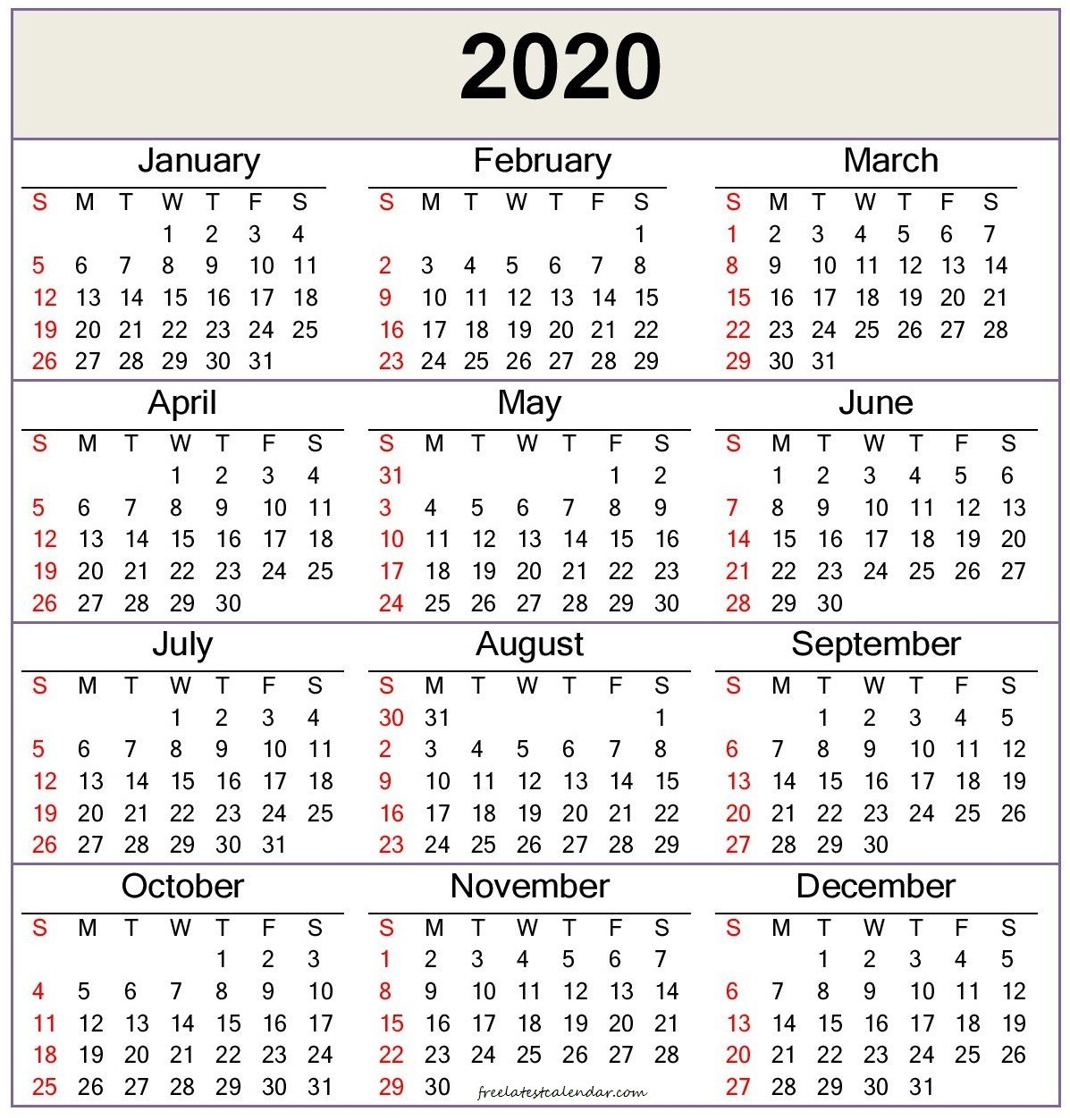 2020 Calendar Template — Word, Pdf - Free Latest Calendar-2020 Printable Microsoft Word Calendar Template