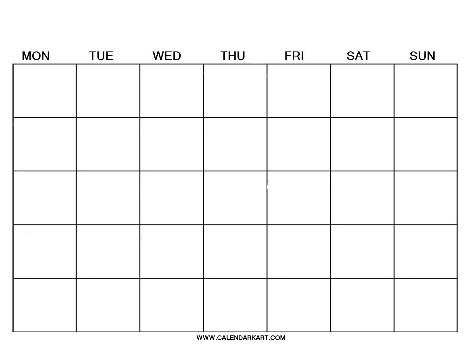 2020 Free Printable Blank Calendar Template » Calendarkart-Printable Blank Calendar Template With Notes