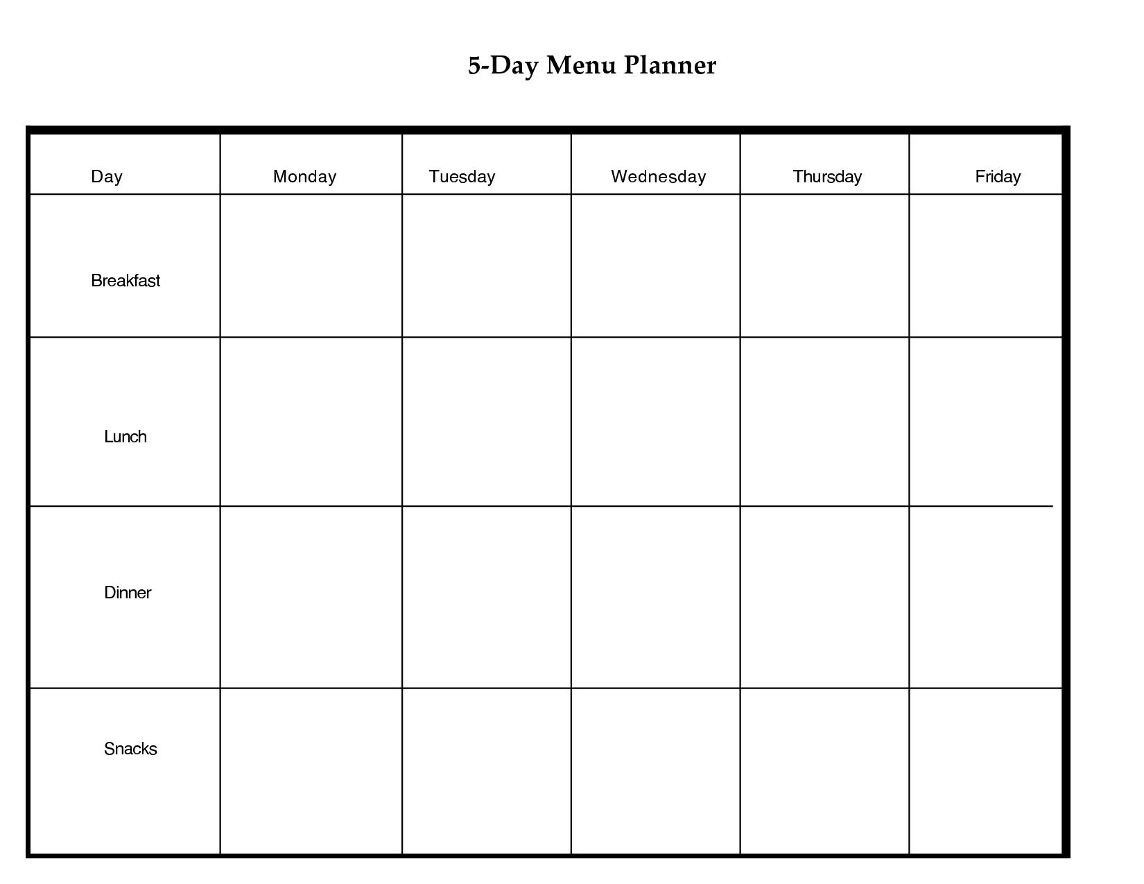 5 Day Weekly Planner Printable | Scope Of Work Template-5 Day Week Calender Template