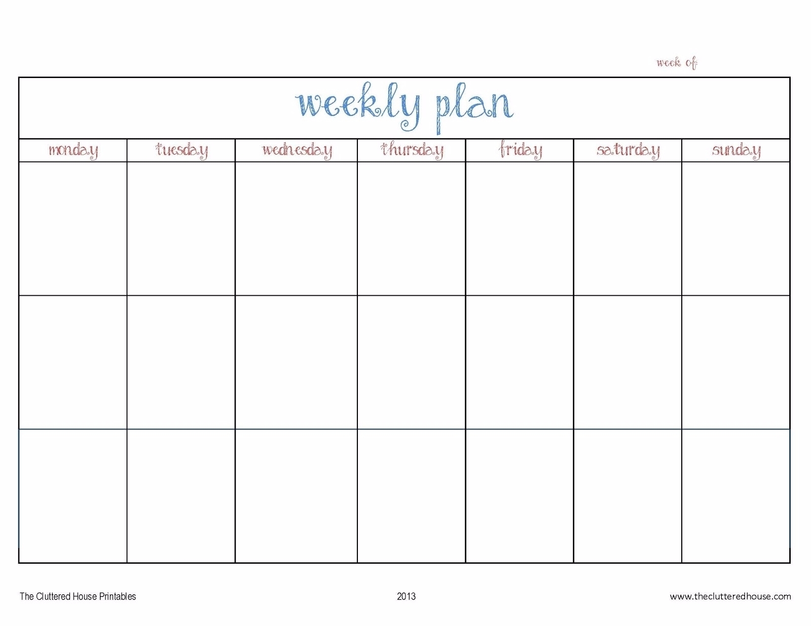 7 Day Weekly Planner Template Printable – Template Calendar-Blank 7 Day Calendar Template