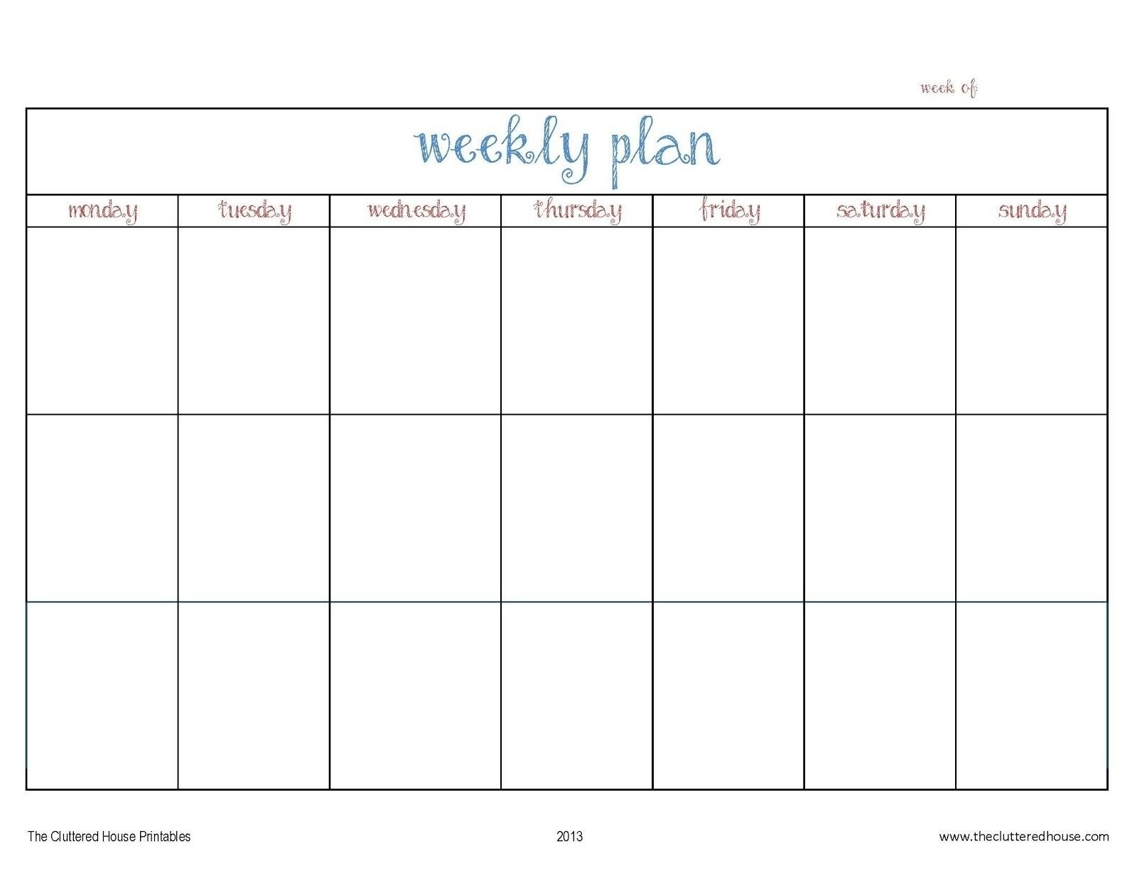 7 Day Weekly Planner Template Printable – Template Calendar-Seven Day Calendar Schedule Template