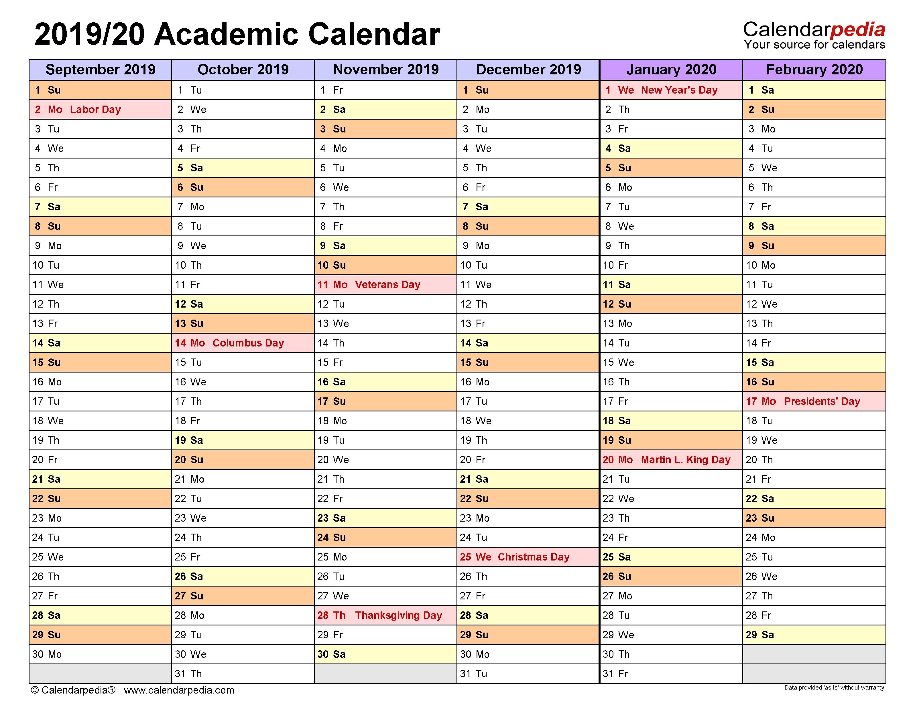 Academic Calendars 2019/2020 - Free Printable Word Templates-Blank Academic Week By Week Calendar