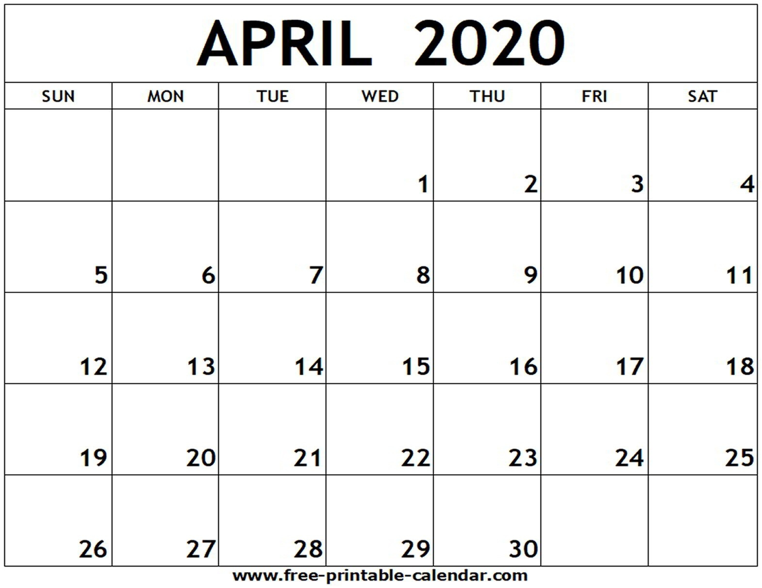 April 2020 Printable Calendar - Free-Printable-Calendar-June-August 2020 Blank Clanedars