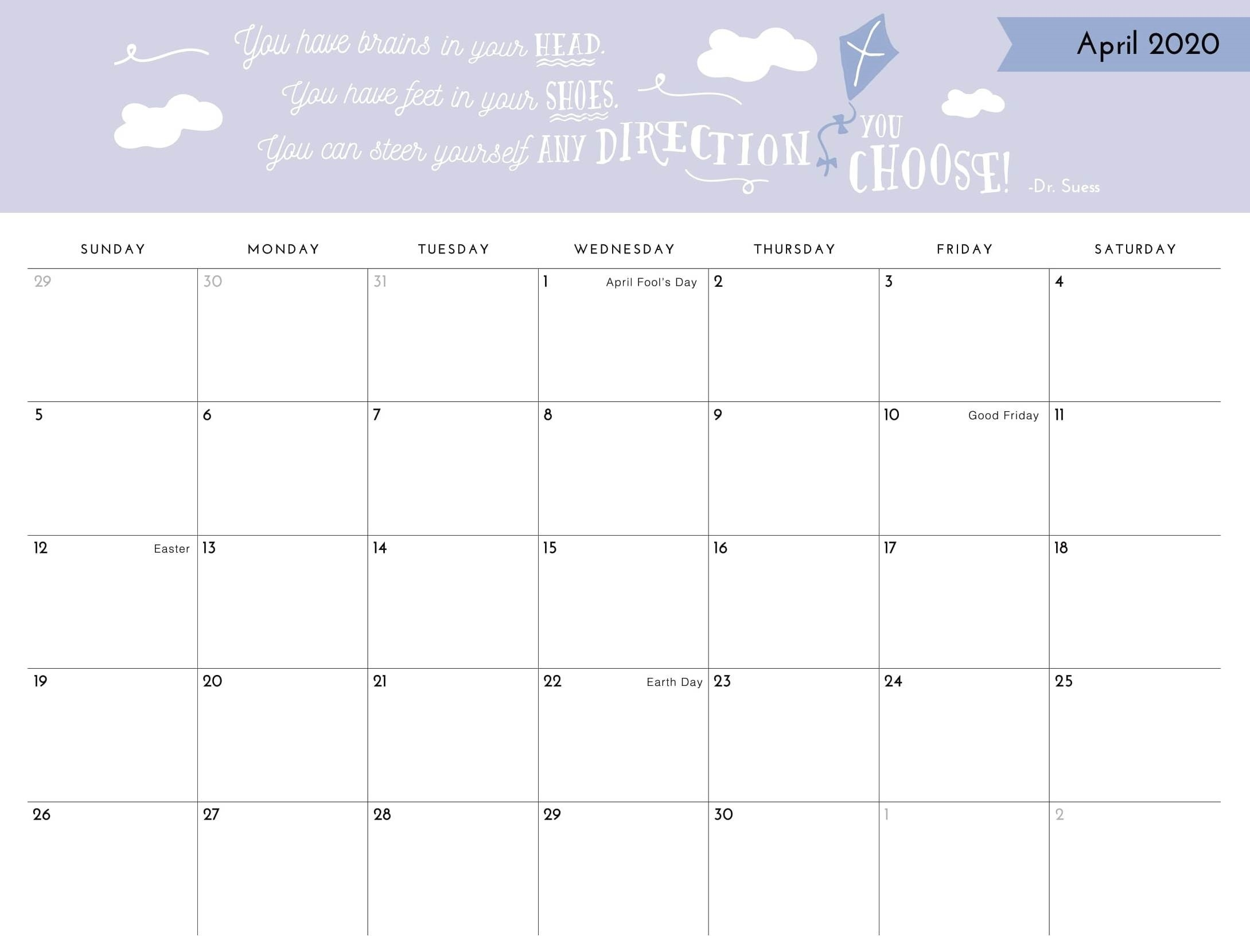 April 2020 Printable Calendar Template With Holidays - Web-Day To Day Calendar Template 2020