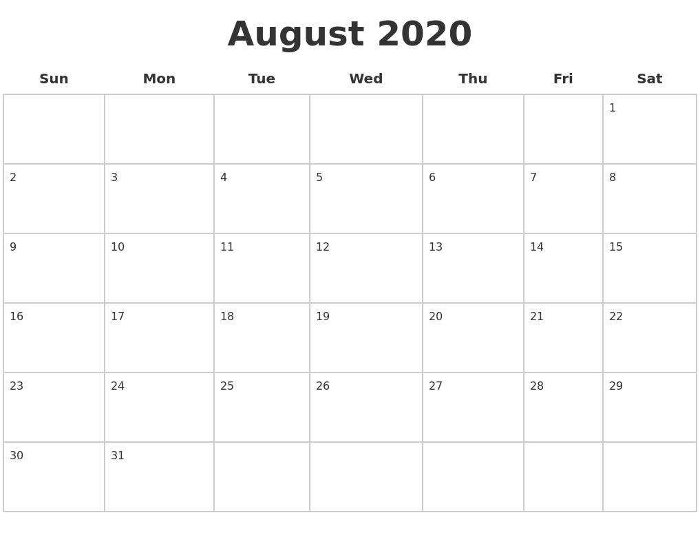 August 2020 Blank Calendar Pages-June-August 2020 Blank Clanedars